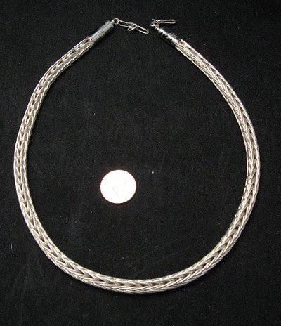 Heavy Navajo Woven Sterling Silver Rope Necklace 16'', Travis Teller