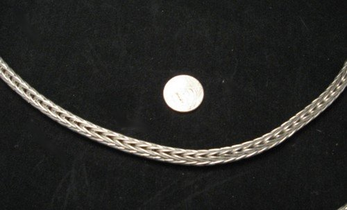 Image 1 of Heavy Navajo Woven Sterling Silver Rope Necklace 16'', Travis Teller