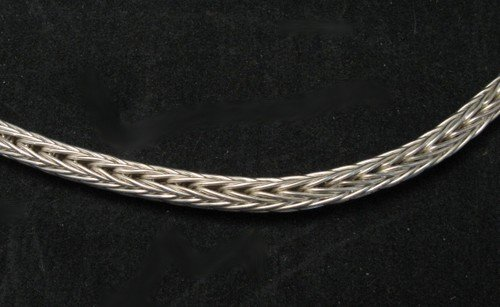 Image 2 of Heavy Navajo Woven Sterling Silver Rope Necklace 16'', Travis Teller