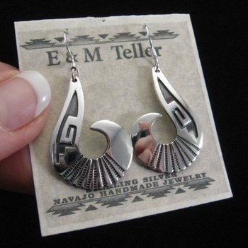 Image 1 of Everett & Mary Teller Navajo Sterling Silver Swirl Earrings
