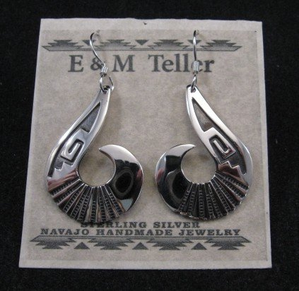 Image 2 of Everett & Mary Teller Navajo Sterling Silver Swirl Earrings