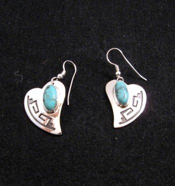 Navajo Silver Overlay Turquoise Heart Earrings, Everett & Mary Teller