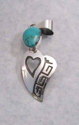 Image 1 of Navajo Silver Overlay Turquoise Heart Pendant, Everett & Mary Teller
