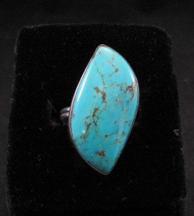 Everett & Mary Teller, Navajo Silver Kingman Turquoise Ring sz9