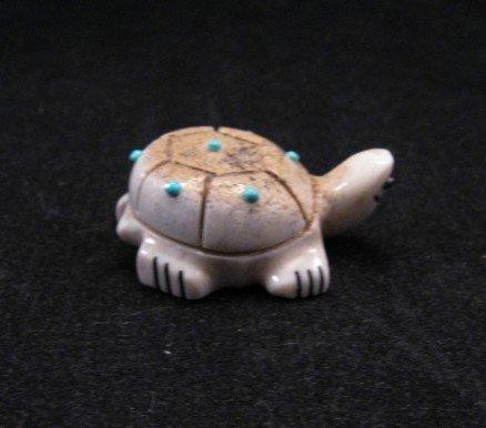 Zuni Fetish - Small Smiling Turtle - Antler - Claudia Peina