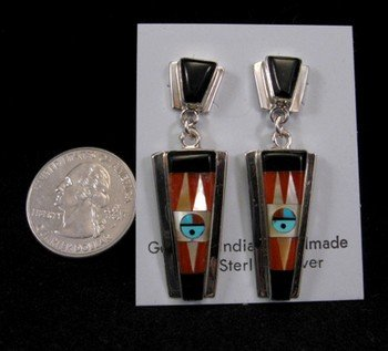 Native American Rayland & Patty Edaakie Zuni Inlay Earrings
