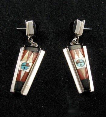 Image 1 of Native American Rayland & Patty Edaakie Zuni Inlay Earrings