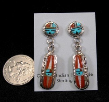 Image 1 of Rayland & Patty Edaakie Zuni Inlay Sunface Earrings