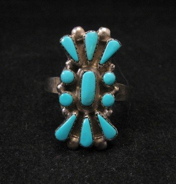 Vintage American Indian Zuni Turquoise 11-Stone Cluster Ring sz9