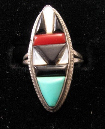 Image 3 of Vintage American Indian Zuni Multi-Stone Inlay Ring sz7