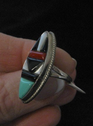 Image 2 of Vintage American Indian Zuni Multi-Stone Inlay Ring sz7