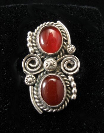 Old Navajo Traditional Carnelian Silver Ring sz6-1/2