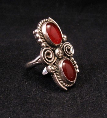 Image 1 of Old Navajo Traditional Carnelian Silver Ring sz6-1/2