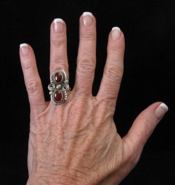Image 2 of Old Navajo Traditional Carnelian Silver Ring sz6-1/2