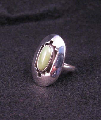 Image 2 of Navajo ~ Everett & Mary Teller ~ Shadowbox Turquoise Ring sz6-1/2