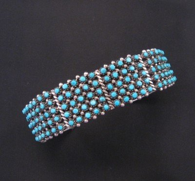 Image 0 of Zuni 5-Row 150 Snake Eye Turquoise Silver Cuff Bracelet, April Haloo