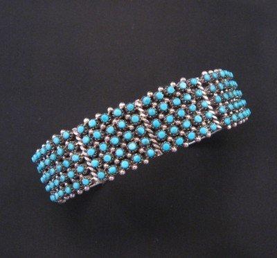 Zuni 5-Row 150 Snake Eye Turquoise Silver Cuff Bracelet, April Haloo