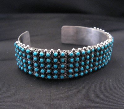 Image 1 of Zuni 5-Row 150 Snake Eye Turquoise Silver Cuff Bracelet, April Haloo
