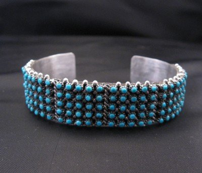 Image 2 of Zuni 5-Row 150 Snake Eye Turquoise Silver Cuff Bracelet, April Haloo