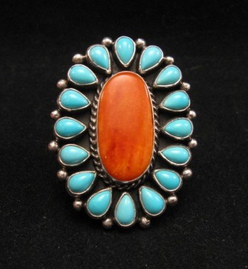 Native American Turquoise Spiny Oyster Cluster Ring sz7-1/2, La Rose Ganadonegro