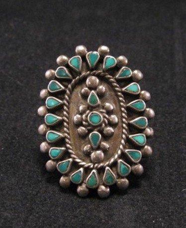 Vintage Zuni Indian Turquoise Inlay Ring sz4-1/2