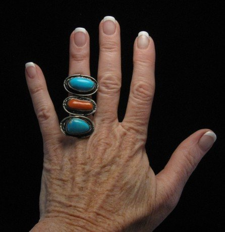 Image 2 of Dead Pawn Handmade Turquoise & Coral Sterling Silver Ring sz5-1/2