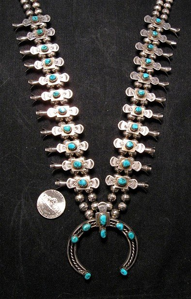 Vintage Old Pawn Box Bow Squash Blossom Necklace (Navajo, Willie Haley)