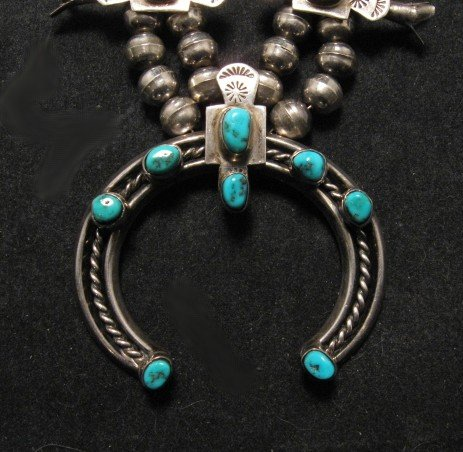 Image 1 of Vintage Old Pawn Box Bow Squash Blossom Necklace (Navajo, Willie Haley)