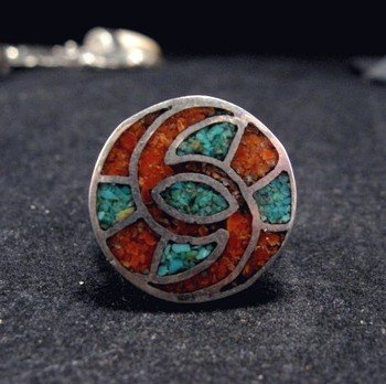 Vintage Singer Style Turquoise Coral Inlay Ring sz4