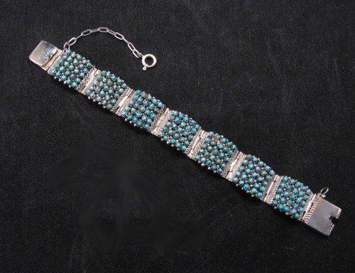 Zuni 5 Row 175 Turquoise Snake Eye Silver Link Bracelet, Peter & Vivian Haloo