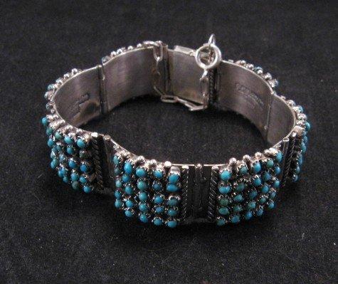 Image 1 of Zuni 5 Row 175 Turquoise Snake Eye Silver Link Bracelet, Peter & Vivian Haloo