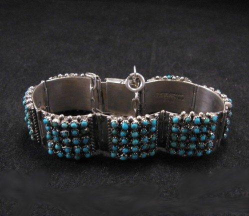 Image 2 of Zuni 5 Row 175 Turquoise Snake Eye Silver Link Bracelet, Peter & Vivian Haloo
