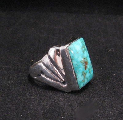 Image 1 of Navajo Turquoise Sterling Silver Ring sz11-1/4, Orville Tsinnie