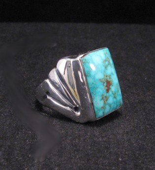 Image 2 of Navajo Turquoise Sterling Silver Ring sz11-1/4, Orville Tsinnie