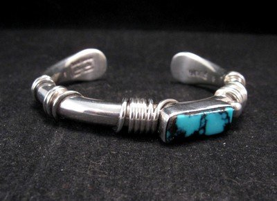 Orville Tsinnie Navajo Turquoise Sterling Silver Wrap Bracelet, Small