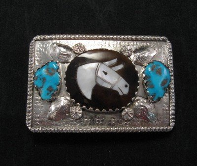 Image 0 of Isabelle Simplicio * Zuni * Turquoise Horse Head Inlay Turquoise Nugget Buckle