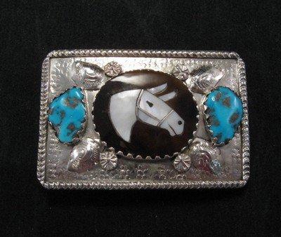 Isabelle Simplicio * Zuni * Turquoise Horse Head Mosaic Inlay Bolo