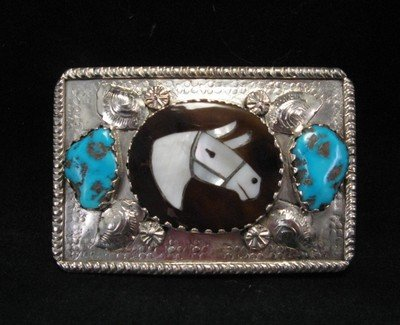 Image 1 of Isabelle Simplicio * Zuni * Turquoise Horse Head Inlay Turquoise Nugget Buckle