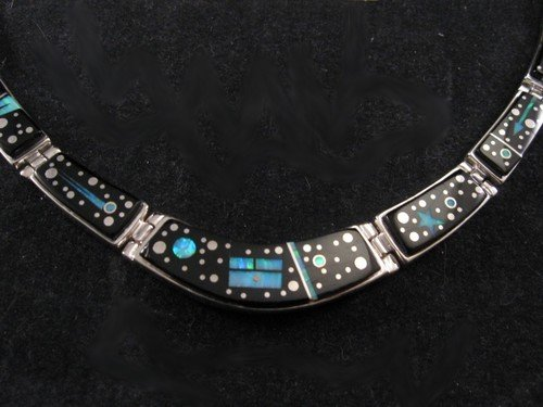 Navajo Calvin Begay Starry Night Inlay Necklace Earrings Set