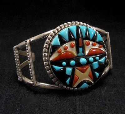 Image 1 of Virginia Quam Zuni Turquoise Multistone Silver Bracelet