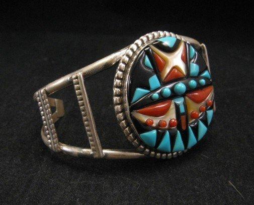 Image 2 of Virginia Quam Zuni Turquoise Multistone Silver Bracelet