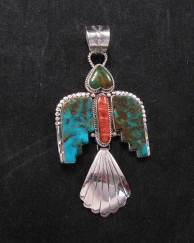 Navajo Indian Turquoise Thunderbird Pendant, Martha Willeto