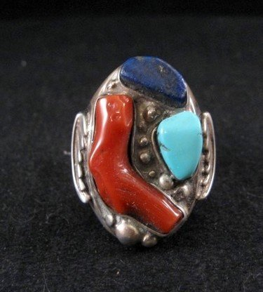 Zuni Native American Coral, Turquoise & Lapis Silver Ring sz11-1/2