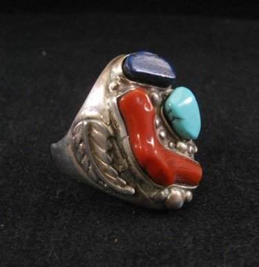 Image 1 of Zuni Native American Coral, Turquoise & Lapis Silver Ring sz11-1/2