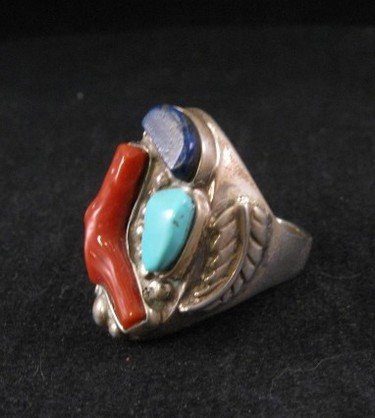 Image 2 of Zuni Native American Coral, Turquoise & Lapis Silver Ring sz11-1/2