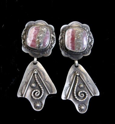 Image 0 of Fritzon Toledo Navajo Rhodochrosite & Silver Overlay Earrings