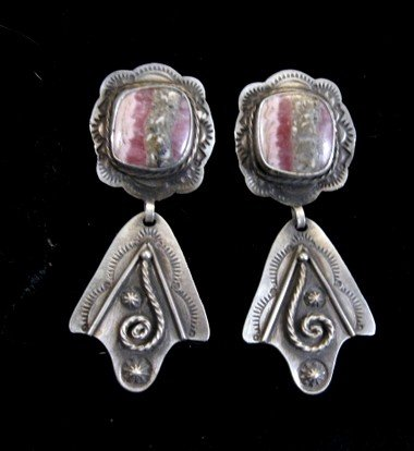 Image 1 of Fritzon Toledo Navajo Rhodochrosite & Silver Overlay Earrings