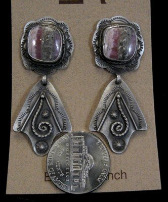 Image 2 of Fritzon Toledo Navajo Rhodochrosite & Silver Overlay Earrings