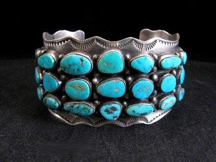Morenci Turquoise Sterling Silver Cuff Bracelet, Navajo Etta Endito