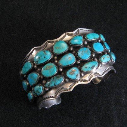 Image 1 of Morenci Turquoise Sterling Silver Cuff Bracelet, Navajo Etta Endito